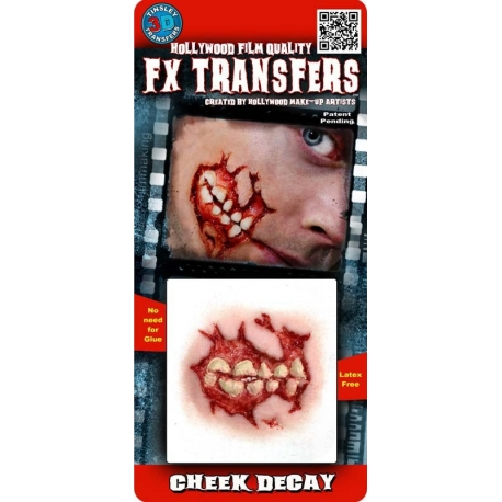 Cheek Decay 3D FX Transfer Hollywood Quality Horror Makeup