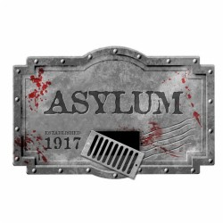 Sinister Surgery Asylum Sign Halloween Decoration