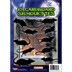 10 Cardboard Rat Silhouette Halloween Decorations