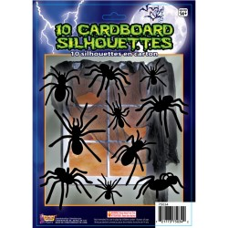 10 Cardboard Spider Silhouette Halloween Decorations