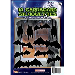 10 Cardboard Bat Silhouette Halloween Decorations