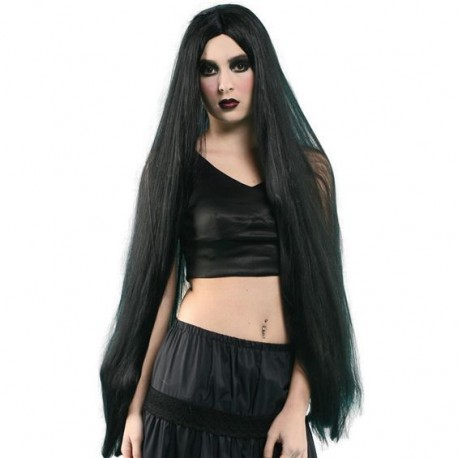 Long Blonde or Black Wig Fancy Dress
