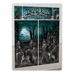 Dead End Cemetary Halloween Scene Setter Decoration
