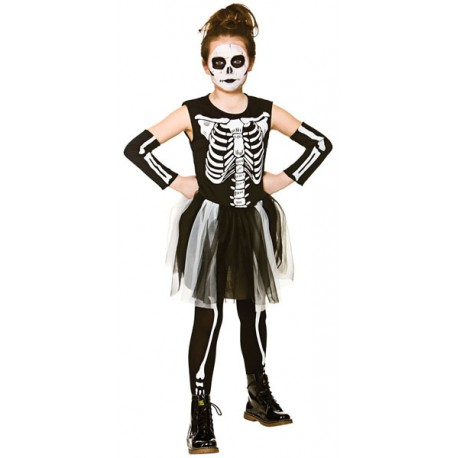 Skelebones Girls Halloween Fancy Dress Costume