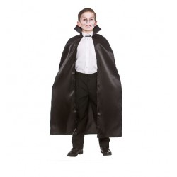Black Satin Cape Child Size Halloween Fancy Dress Costume