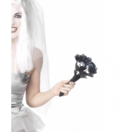 Corpse Bride Bouquet Black Roses Halloween Costume Accessory