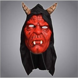 Hooded Red Devil Halloween Mask