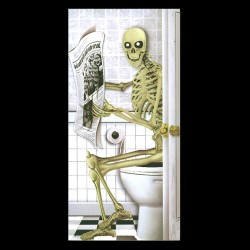 Skeleton Toilet Door Cover