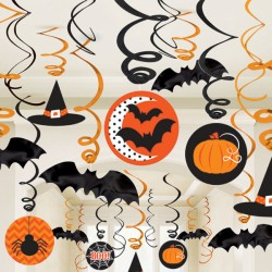 Black & Orange Halloween Hanging Swirls