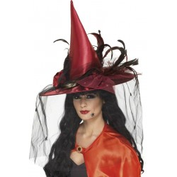 Red Witch Hat Deluxe With Veil