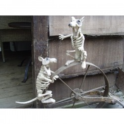 Pair Of Skeleton Rat's Halloween Decorations