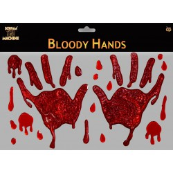 Bloody Hand Window Gels Halloween Decoration