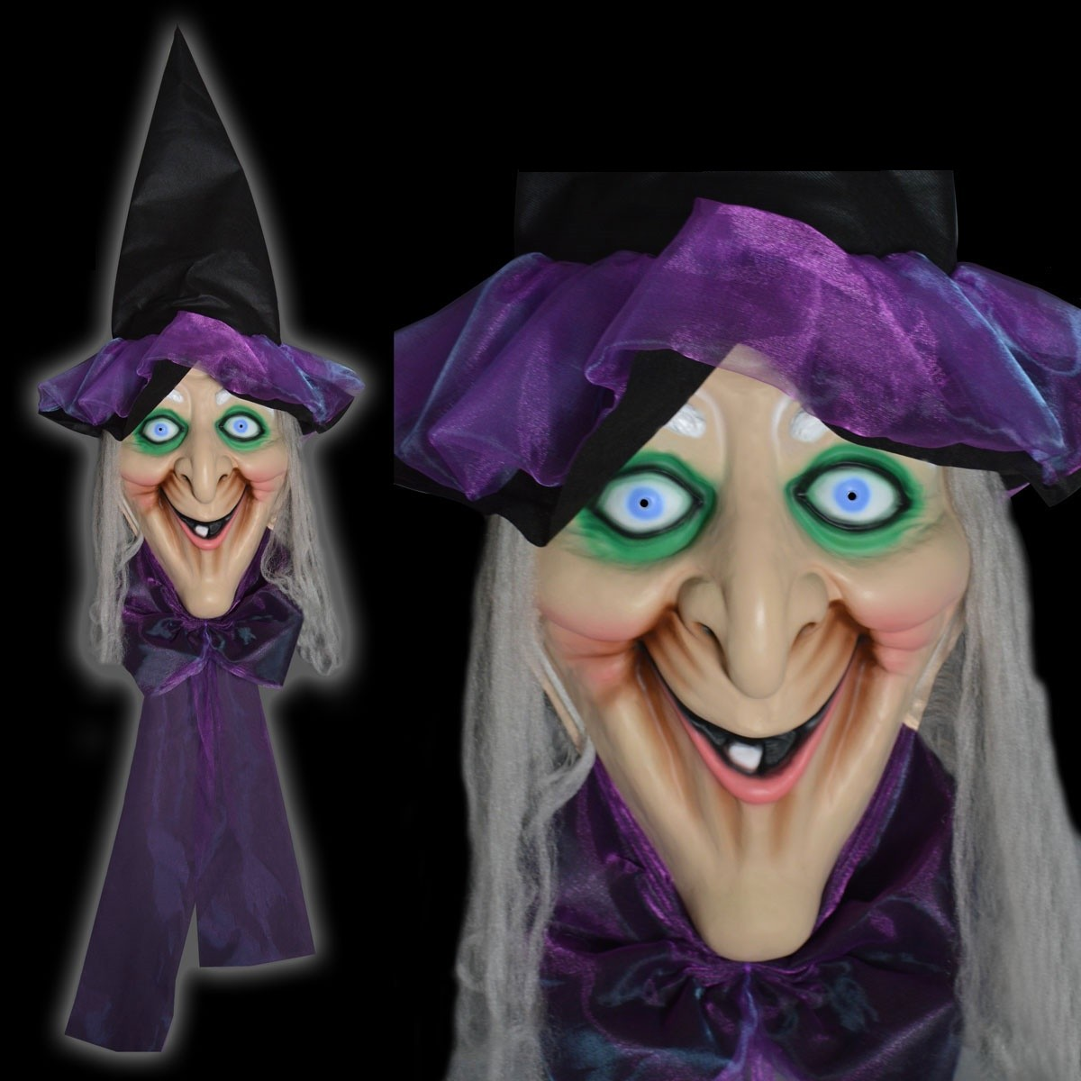 large animated witches head halloween decoration - halloween horror