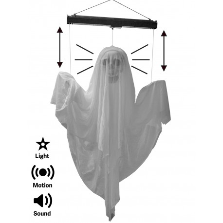 Light up animated floating ghost with sound halloween for Animated floating ghost decoration