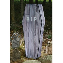 Collapsible Woodlook Coffin Halloween Prop