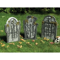 Set of 3 Tombstone's With Moss Halloween Props