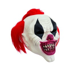 Clown Mask With Crazy Red Hair