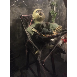 Zombie Baby in High Chair Horror Prop
