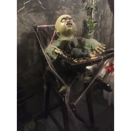 Halloween Zombie Baby Prop.Zombie Baby In High Chair Horror Prop
