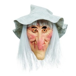 Witch With Hair And Hat Scary Halloween Mask