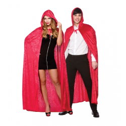 Red Velour Hooded Halloween Cape