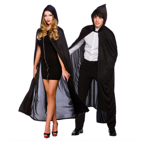 Black Hooded Adult Cape Halloween Fancy Dress Costume