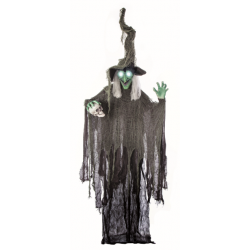 Animated Standing Witch With Skull Halloween Horror Prop