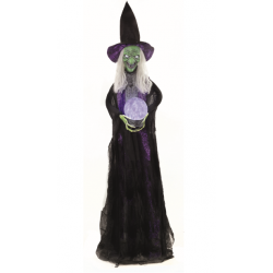 Crystal Ball Standing Witch With Light & Sound