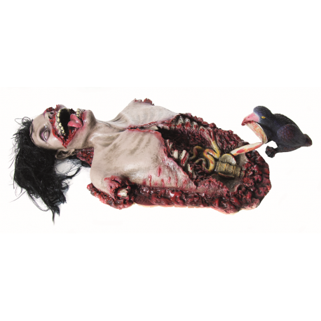 Upper Body Corpse With Crows Halloween Prop -