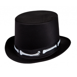 Satin Top Hat With Bones
