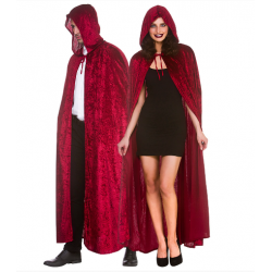 Deep Red Hooded Velvet Cape