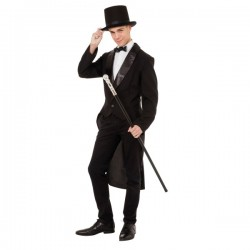 Mens Black Tailcoat Fancy Dress Costume