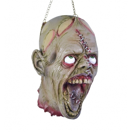 Hanging Dead Head With Stitches Horror Prop Decoration