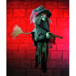 Hanging Witch On Broom Halloween Decoration
