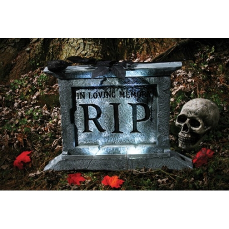 Tombstone With Black Rose Halloween Prop Decoration