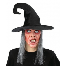Witch with Grey Hair And Hat Halloween Mask