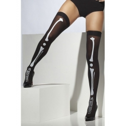 Skeleton Print Thigh High Stockings Halloween Costume Accessory
