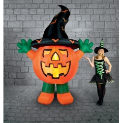 Inflatable Standing Pumpkin With Hat & Lights Halloween Decoration