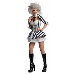 Beetlejuice Ladies Halloween Fancy Dress Costume