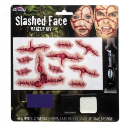 Slashed Face Halloween Horror Make Up Kit