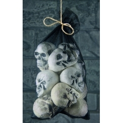 Skulls In Net Bag Halloween Decoration